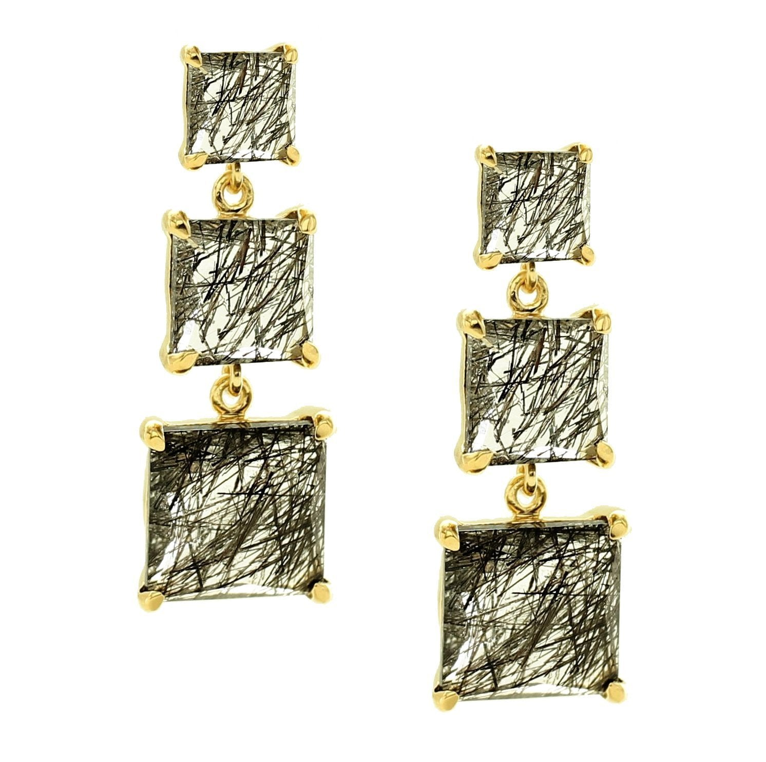 PROTECT 3 DROP EARRINGS - BLACK RUTILE QUARTZ & GOLD - LIMITED EDITION - SO PRETTY CARA COTTER