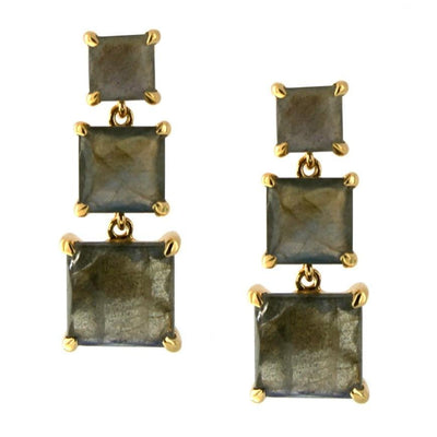 PROTECT 3 DROP EARRINGS - LABRADORITE & GOLD - SO PRETTY CARA COTTER