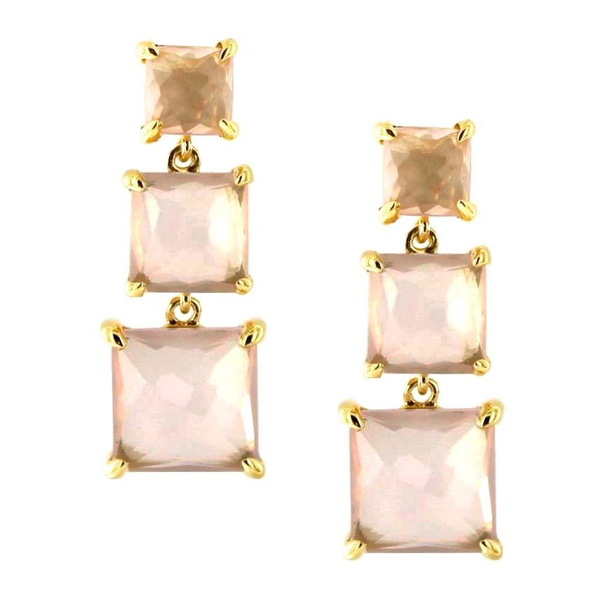 PROTECT 3 DROP EARRINGS - PINK QUARTZ & GOLD - SO PRETTY CARA COTTER