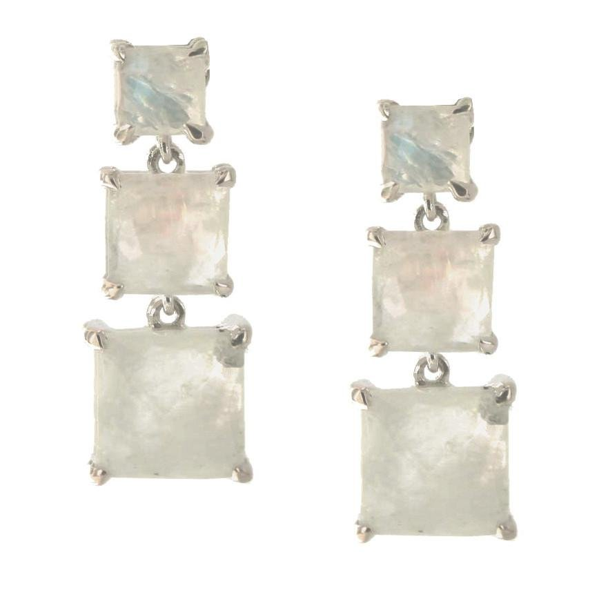 PROTECT 3 DROP EARRINGS - RAINBOW MOONSTONE & SILVER - SO PRETTY CARA COTTER