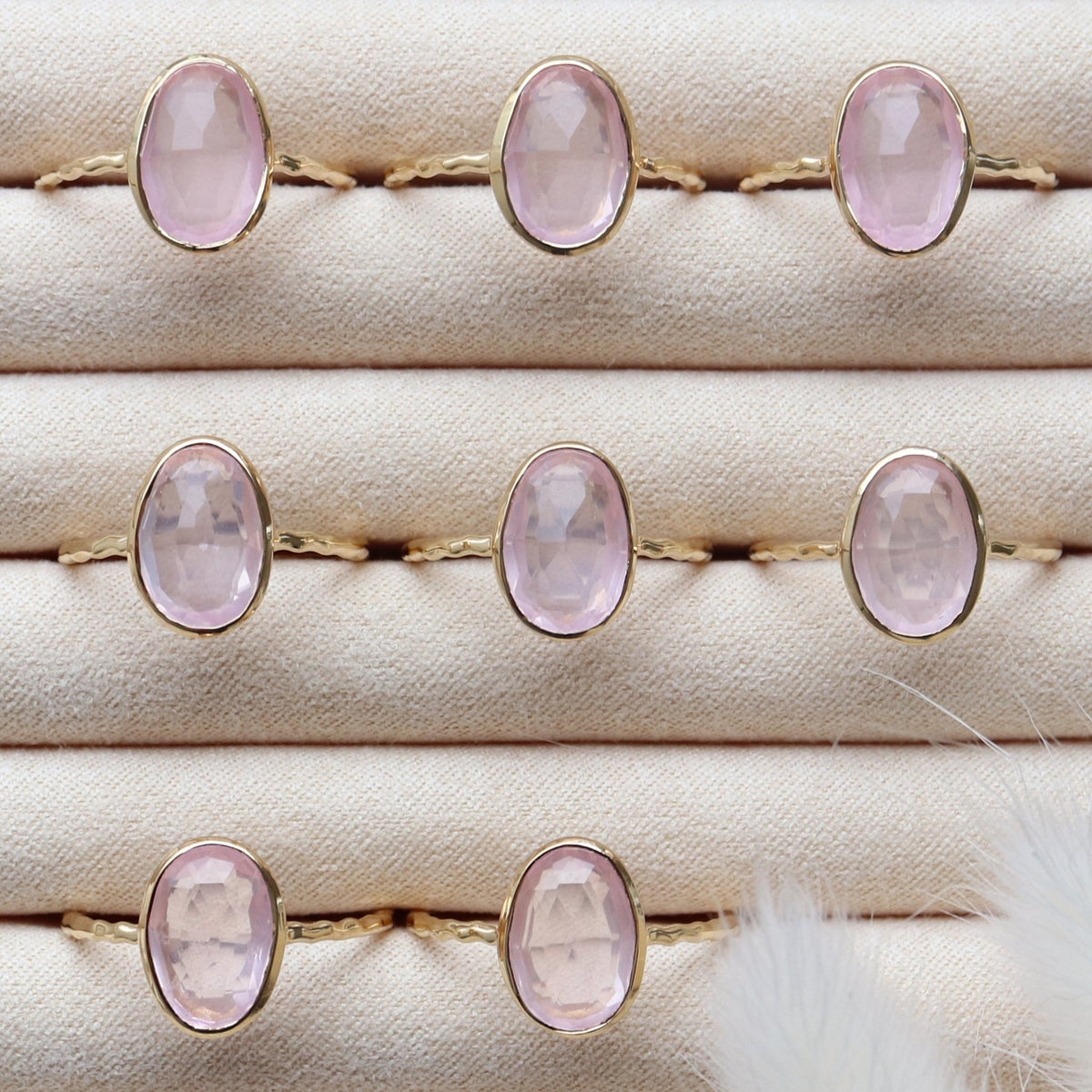 PROTECT OVAL RING - PINK QUARTZ & GOLD - SO PRETTY CARA COTTER