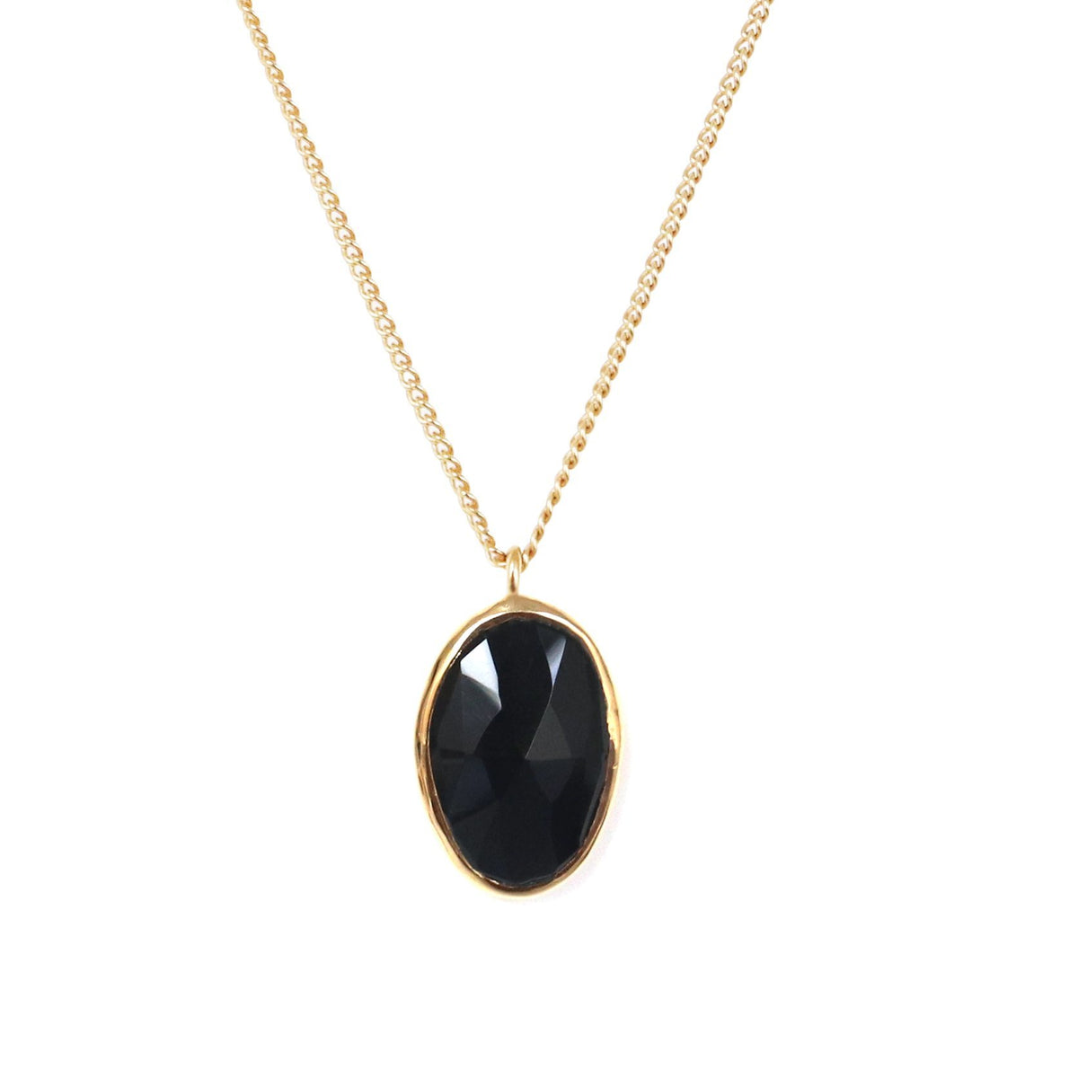 PROTECT PENDANT NECKLACE - BLACK ONYX & GOLD - SO PRETTY CARA COTTER