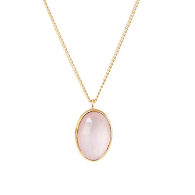 PROTECT PENDANT NECKLACE - PINK QUARTZ & GOLD - SO PRETTY CARA COTTER