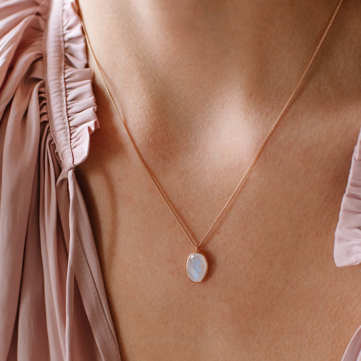 PROTECT PENDANT NECKLACE - RAINBOW MOONSTONE & ROSE GOLD - SO PRETTY CARA COTTER