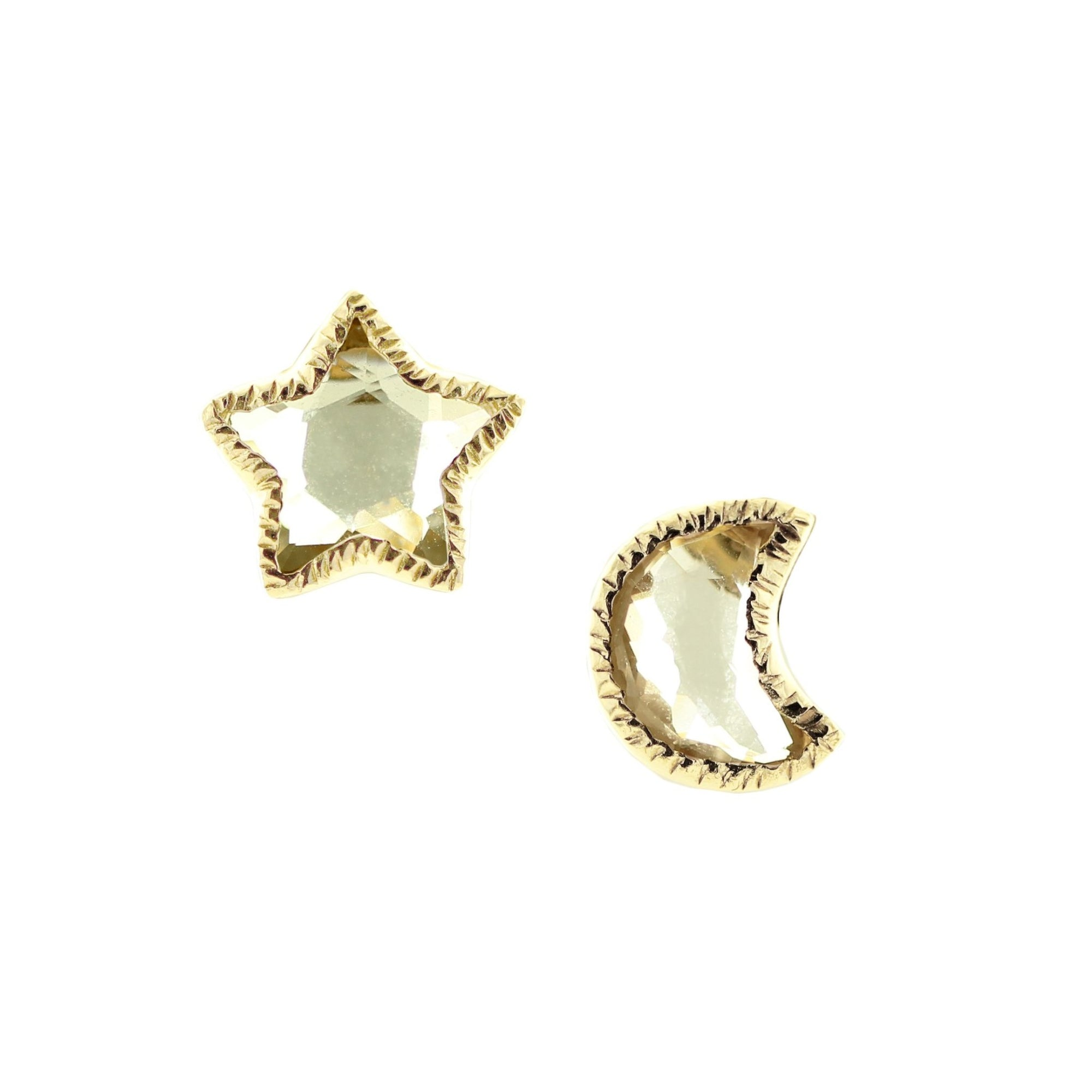 Shoot For The Stars Studs - White Topaz & Gold - SO PRETTY CARA COTTER