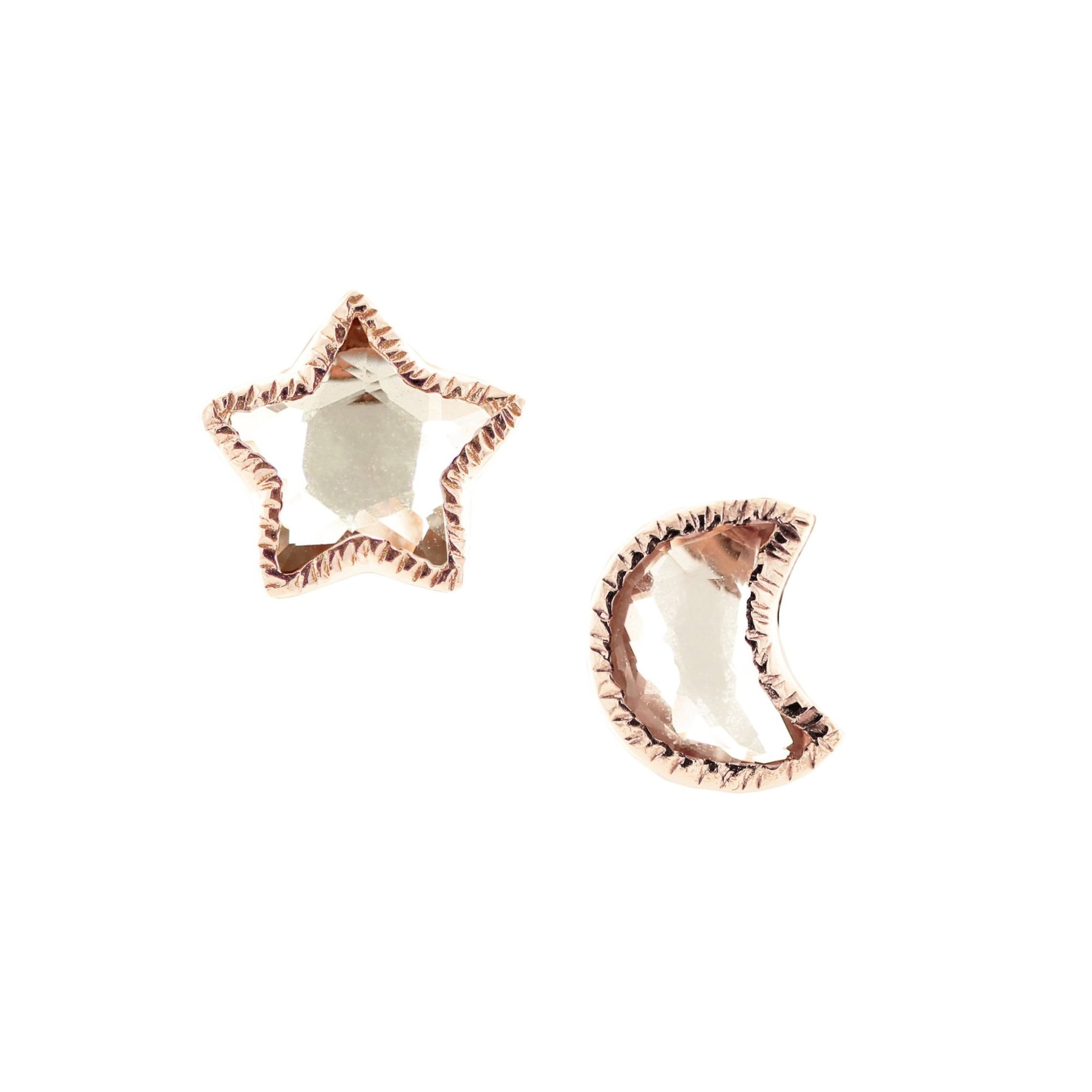 Shoot For The Stars Studs - White Topaz & Rose Gold - SO PRETTY CARA COTTER