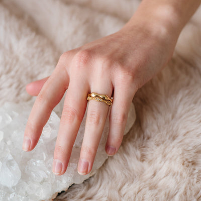 STACK | FREEDOM, KIND & COMPASSION BAND RINGS - WHITE TOPAZ & GOLD - SO PRETTY CARA COTTER