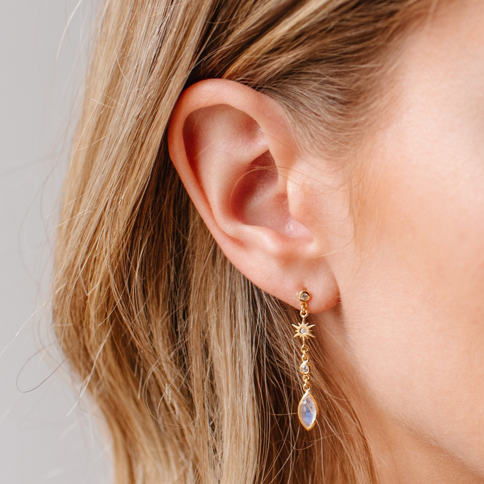 TINY BELIEVE MARQUISE DROP EARRINGS - CUBIC ZIRCONIA, MOONSTONE & GOLD - SO PRETTY CARA COTTER