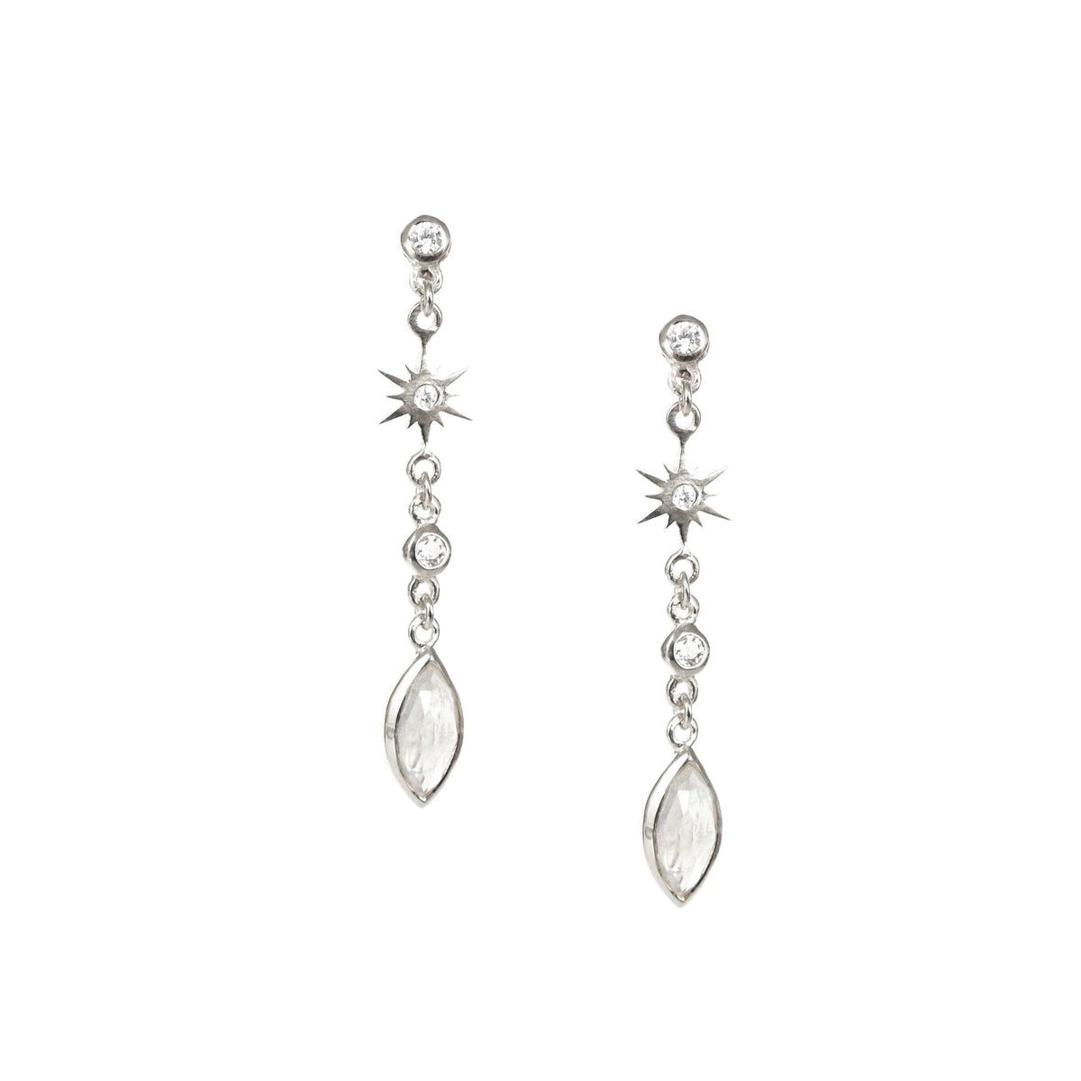 TINY BELIEVE MARQUISE DROP EARRINGS - CUBIC ZIRCONIA, MOONSTONE & SILVER - SO PRETTY CARA COTTER