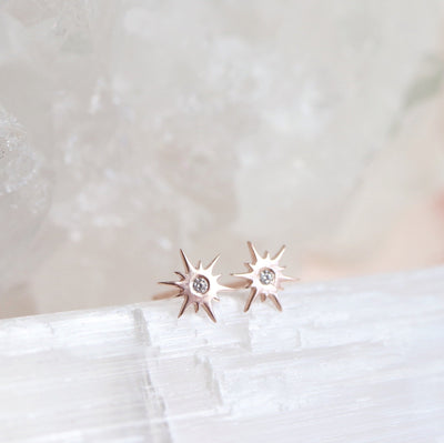 TINY BELIEVE STELLAR STUDS - CUBIC ZIRCONIA, & ROSE GOLD - SO PRETTY CARA COTTER