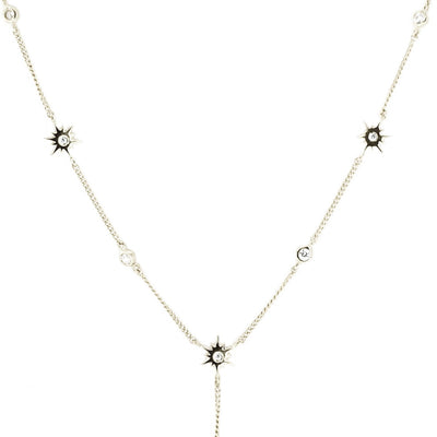 TINY BELIEVE Y NECKLACE - CUBIC ZIRCONIA & SILVER - SO PRETTY CARA COTTER