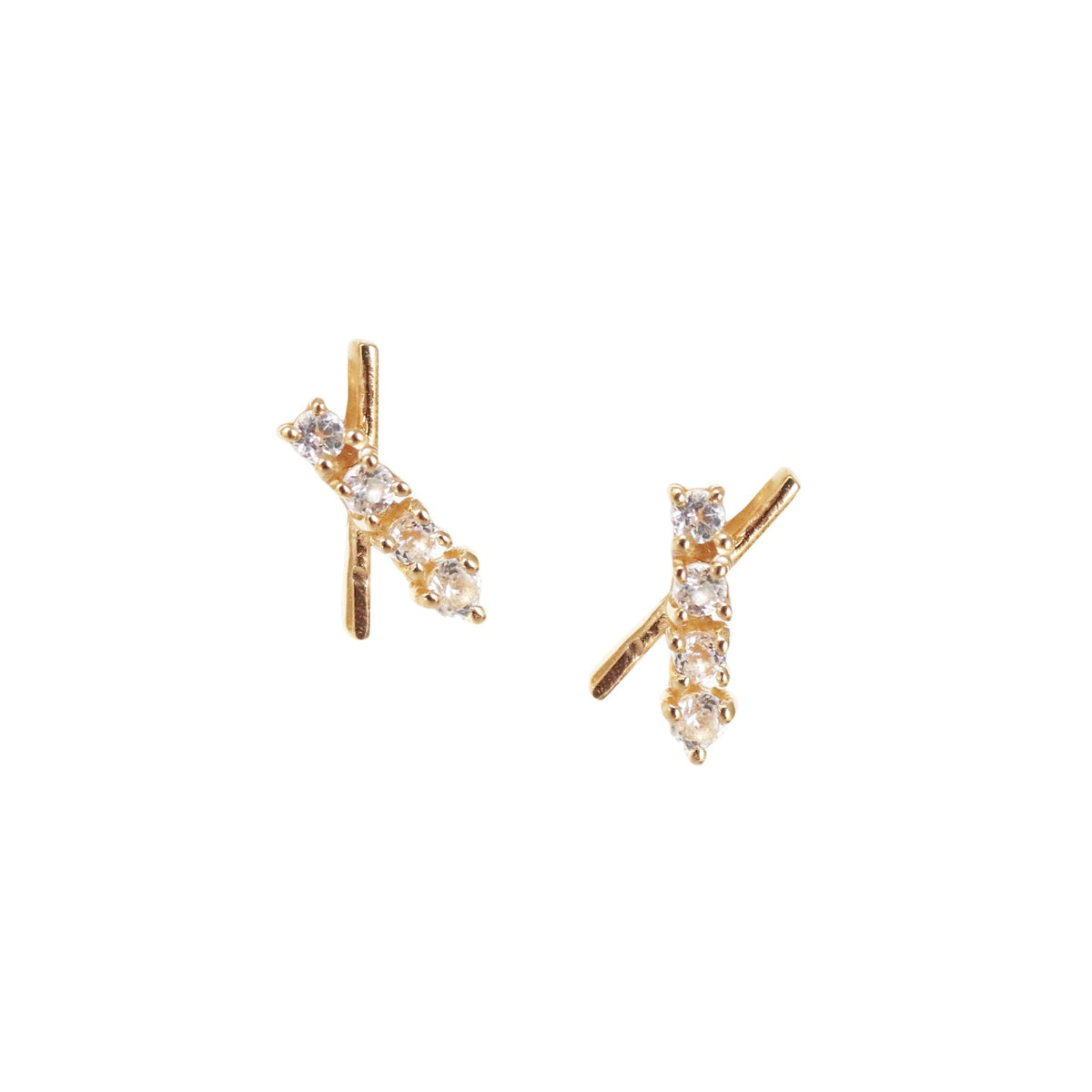 TINY DREAM STARDUST STUDS - CUBIC ZIRCONIA & GOLD - SO PRETTY CARA COTTER