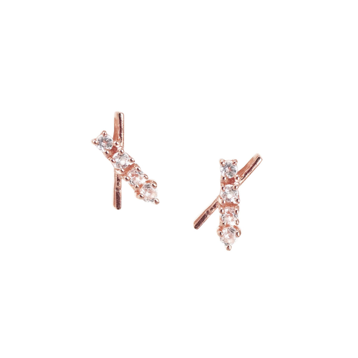 TINY DREAM STARDUST STUDS - CUBIC ZIRCONIA & ROSE GOLD - SO PRETTY CARA COTTER