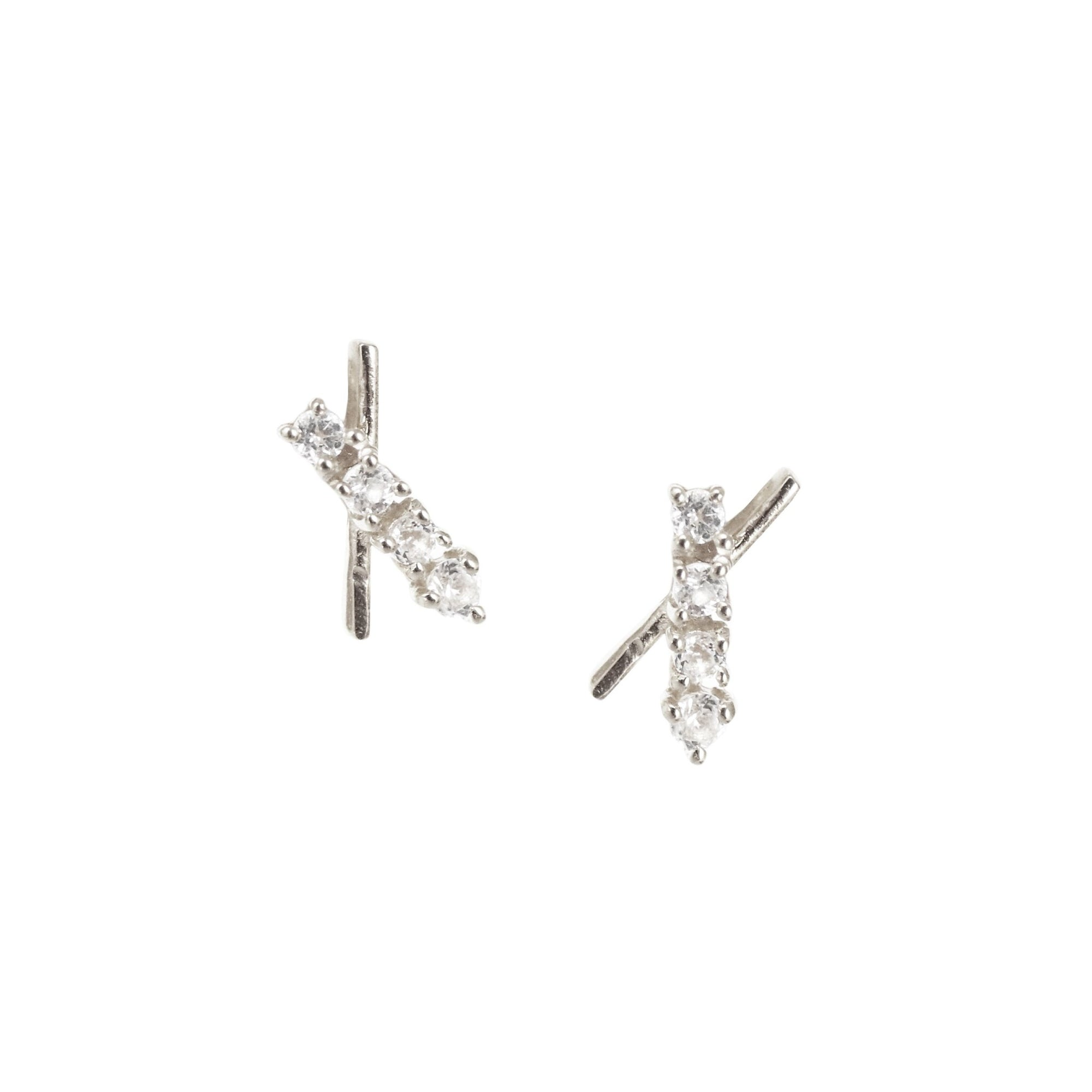 TINY DREAM STARDUST STUDS - CUBIC ZIRCONIA & SILVER - SO PRETTY CARA COTTER