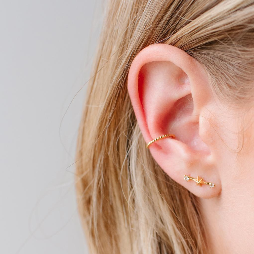 TINY IMAGINE SHOOTING STAR STUDS - CUBIC ZIRCONIA & GOLD - SO PRETTY CARA COTTER