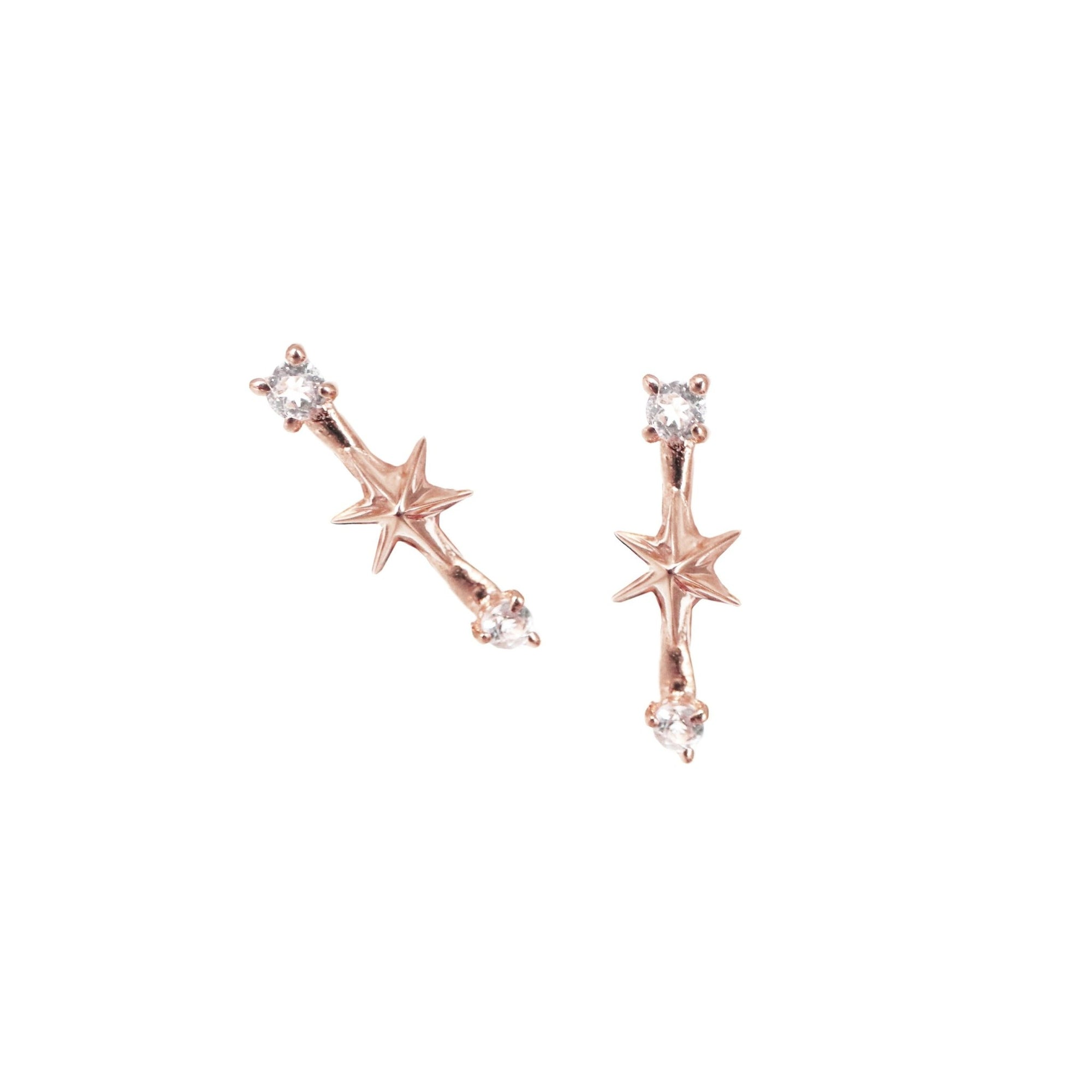 TINY IMAGINE SHOOTING STAR STUDS - CUBIC ZIRCONIA & ROSE GOLD - SO PRETTY CARA COTTER