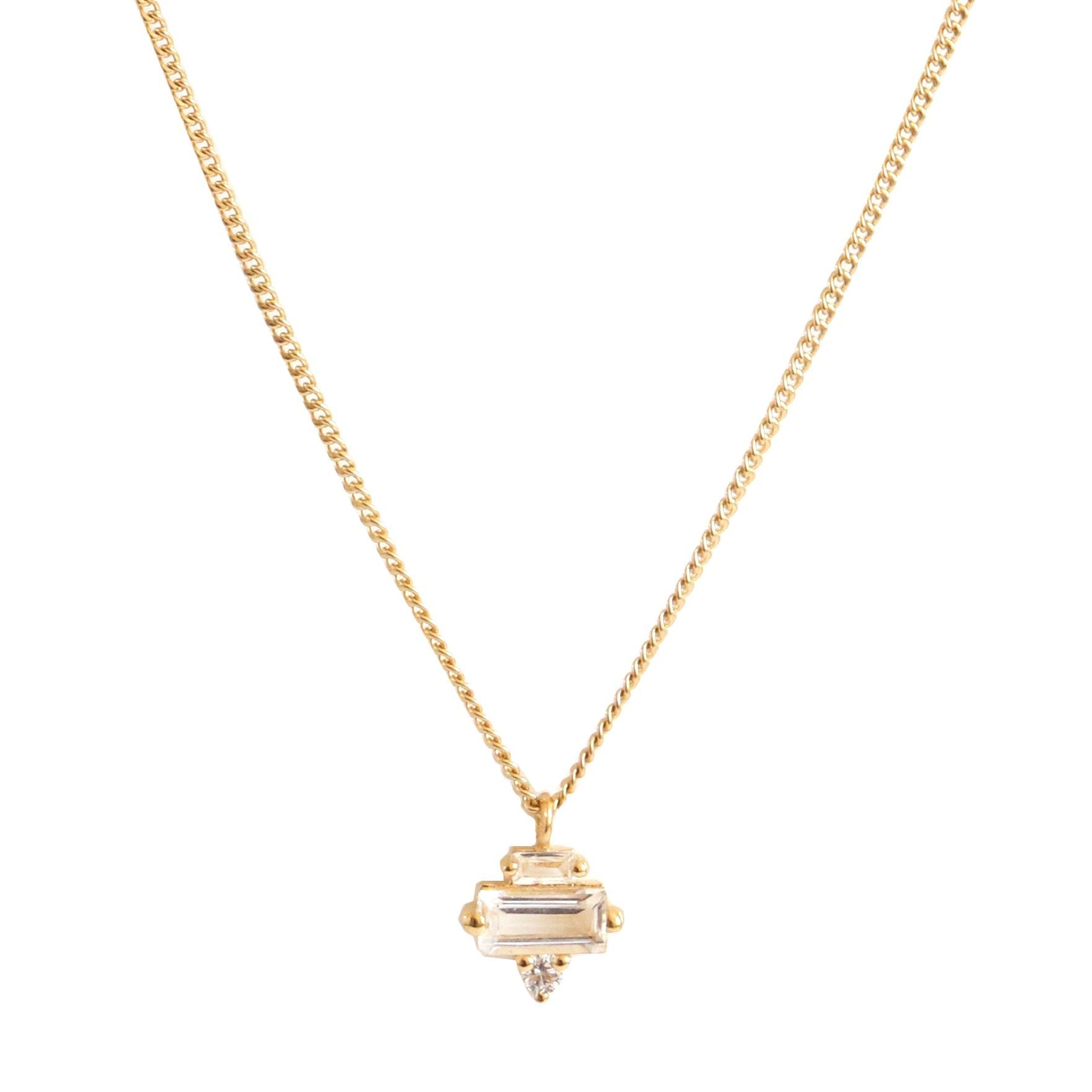 Tiny Loyal Prism Necklace - White Topaz, Cubic Zirconia & Gold - SO PRETTY CARA COTTER