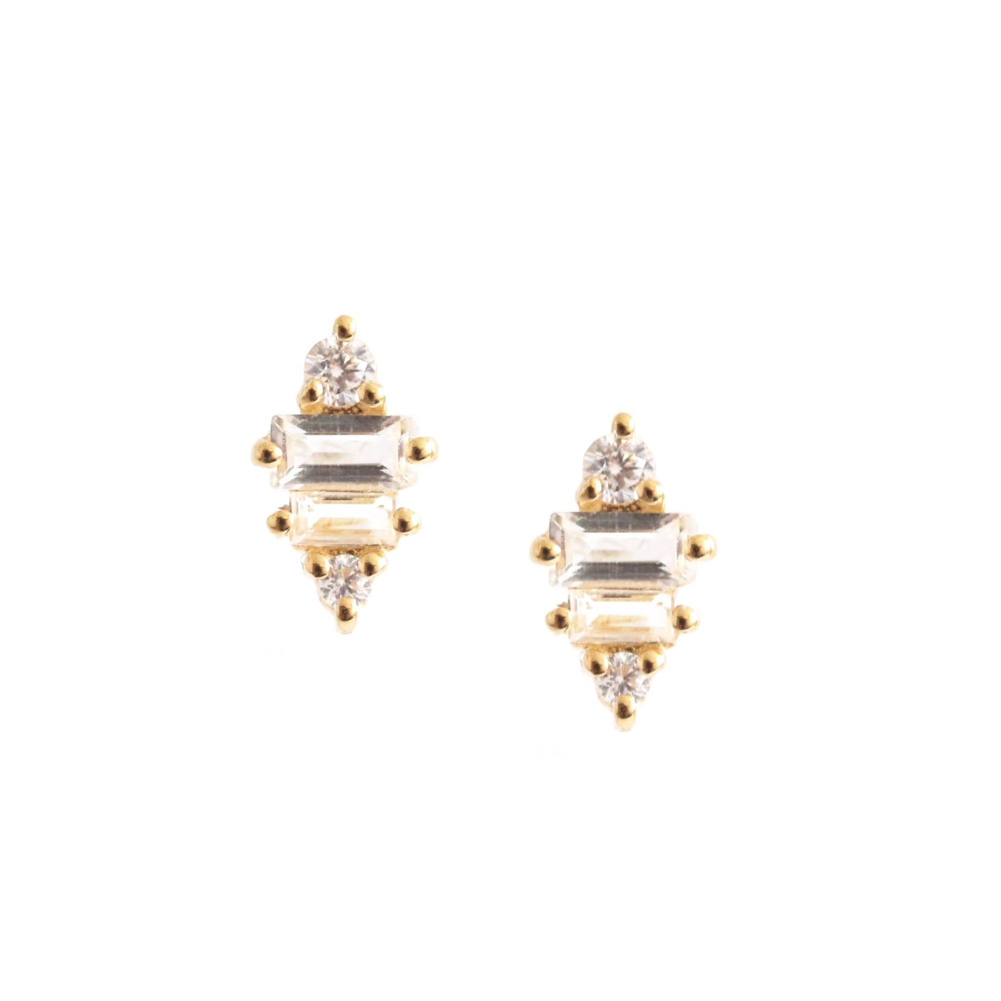 Tiny Loyal Prism Studs - White Topaz, Cubic Zirconia, & Gold - SO PRETTY CARA COTTER