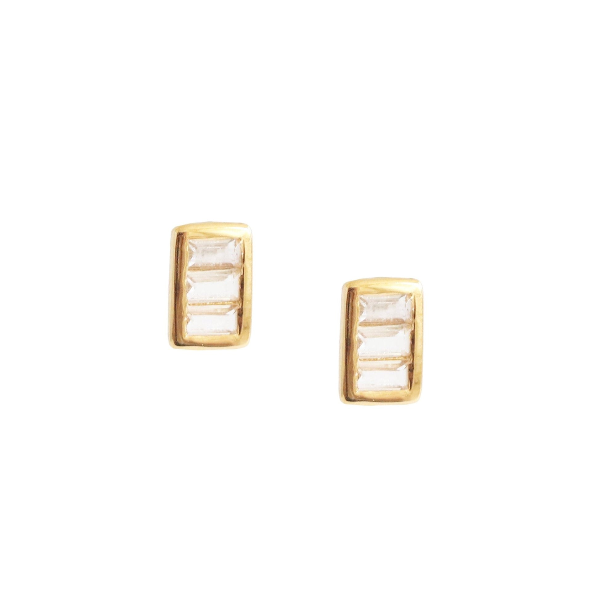 Tiny Loyal Stacked Studs - White Topaz & Gold - SO PRETTY CARA COTTER