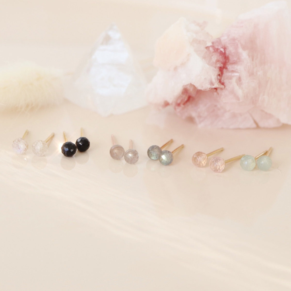 TINY PROTECT STUD EARRINGS - GREY MOONSTONE & ROSE GOLD - SO PRETTY CARA COTTER