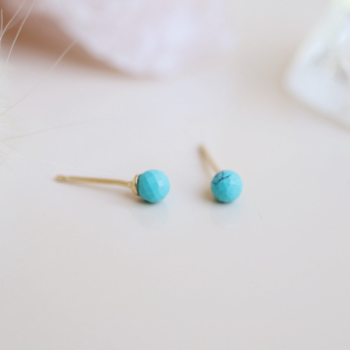 TINY PROTECT STUD EARRINGS - TURQUOISE & GOLD - SO PRETTY CARA COTTER