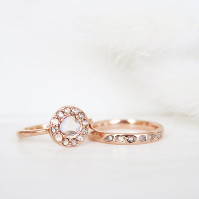True Sliced Diamond Band Ring Rose Gold - SO PRETTY CARA COTTER