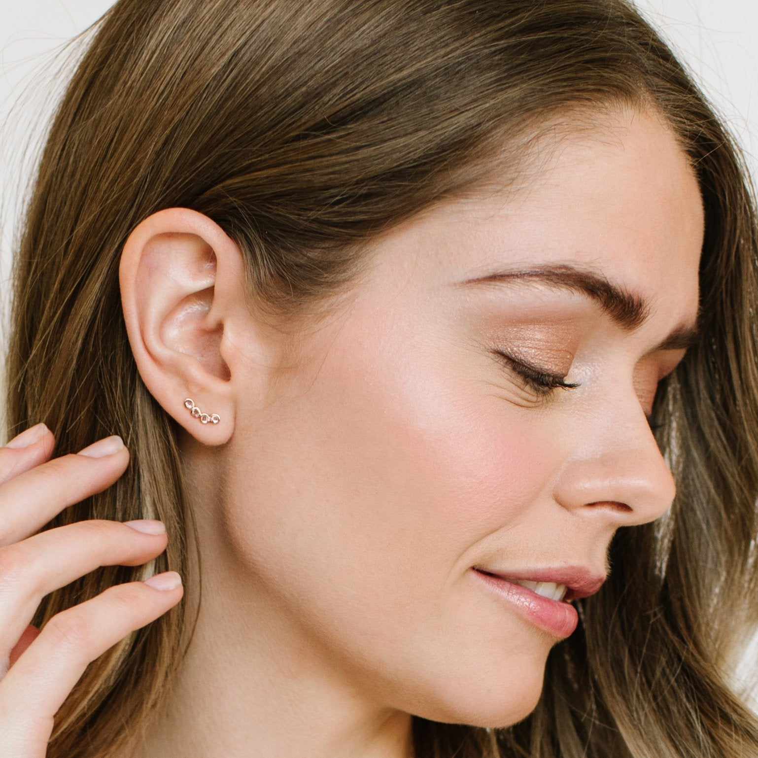 True Sliced Diamond Ear Climbers Rose Gold - SO PRETTY CARA COTTER