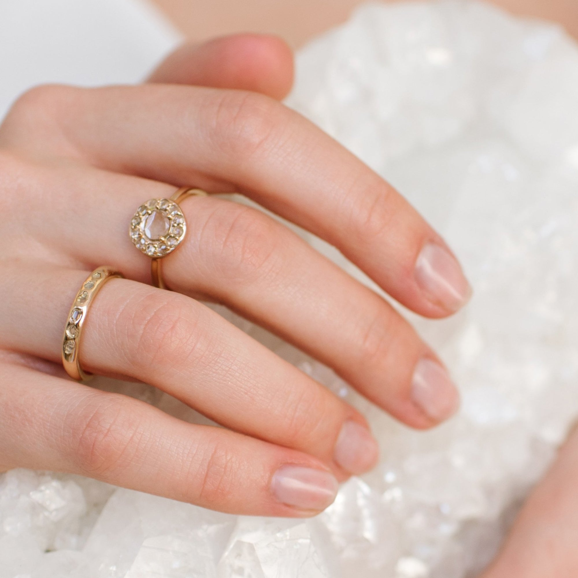 True Sliced Diamond Halo Ring - Gold - SO PRETTY CARA COTTER