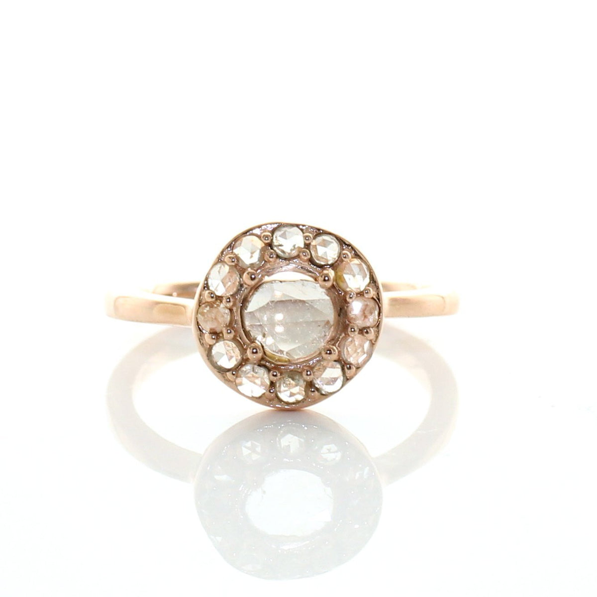 True Sliced Diamond Halo Ring Rose Gold - SO PRETTY CARA COTTER