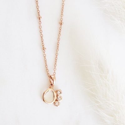 True Sliced Diamond Pendant Necklace Rose Gold - SO PRETTY CARA COTTER