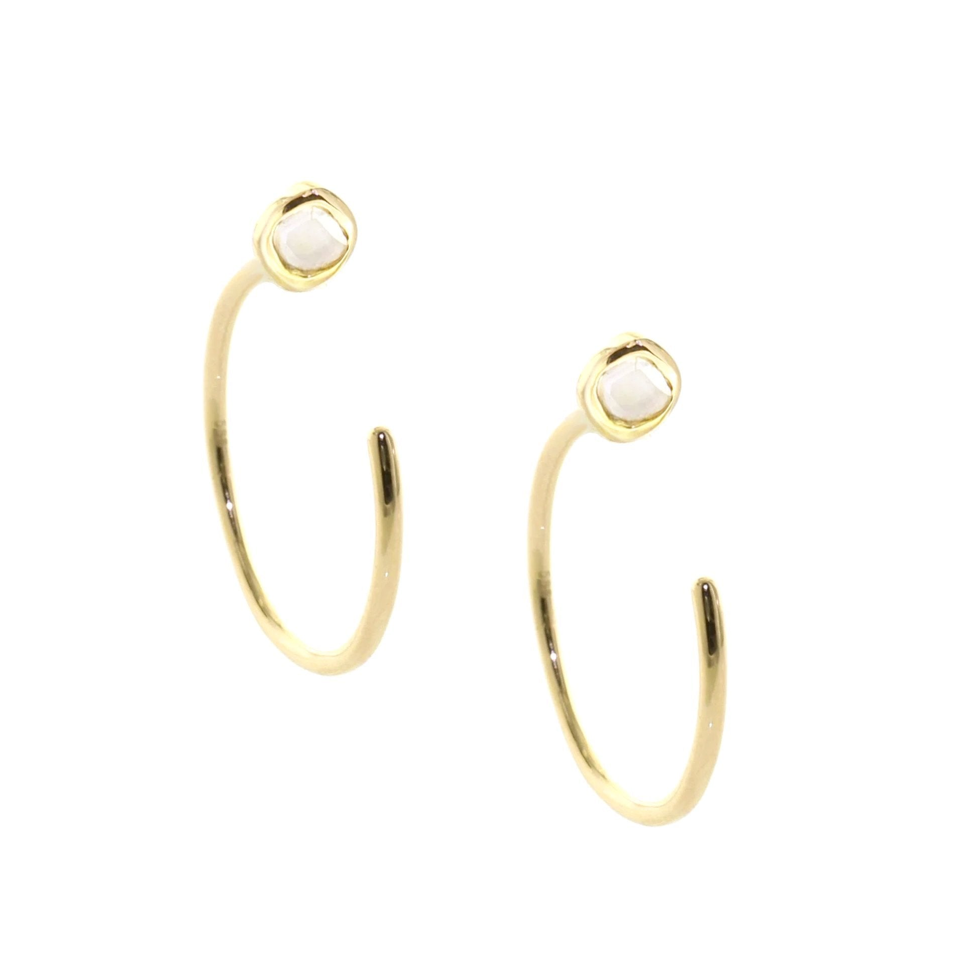 True Sliced Diamond Reverse Hoop Earrings Gold - SO PRETTY CARA COTTER