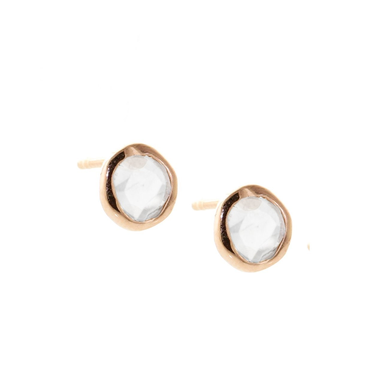 True Sliced Diamond Solitaire Studs Rose Gold - SO PRETTY CARA COTTER