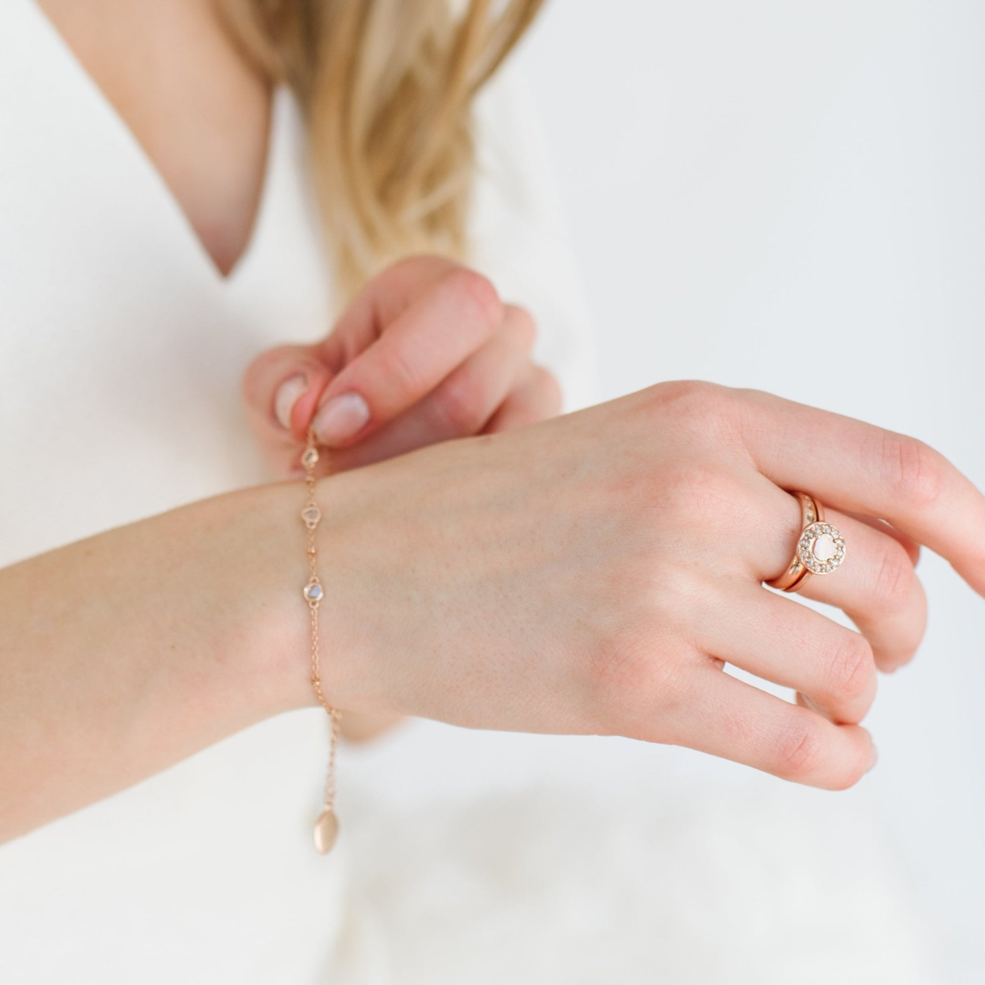 True Sliced Diamond Trio Bracelet Rose Gold - SO PRETTY CARA COTTER