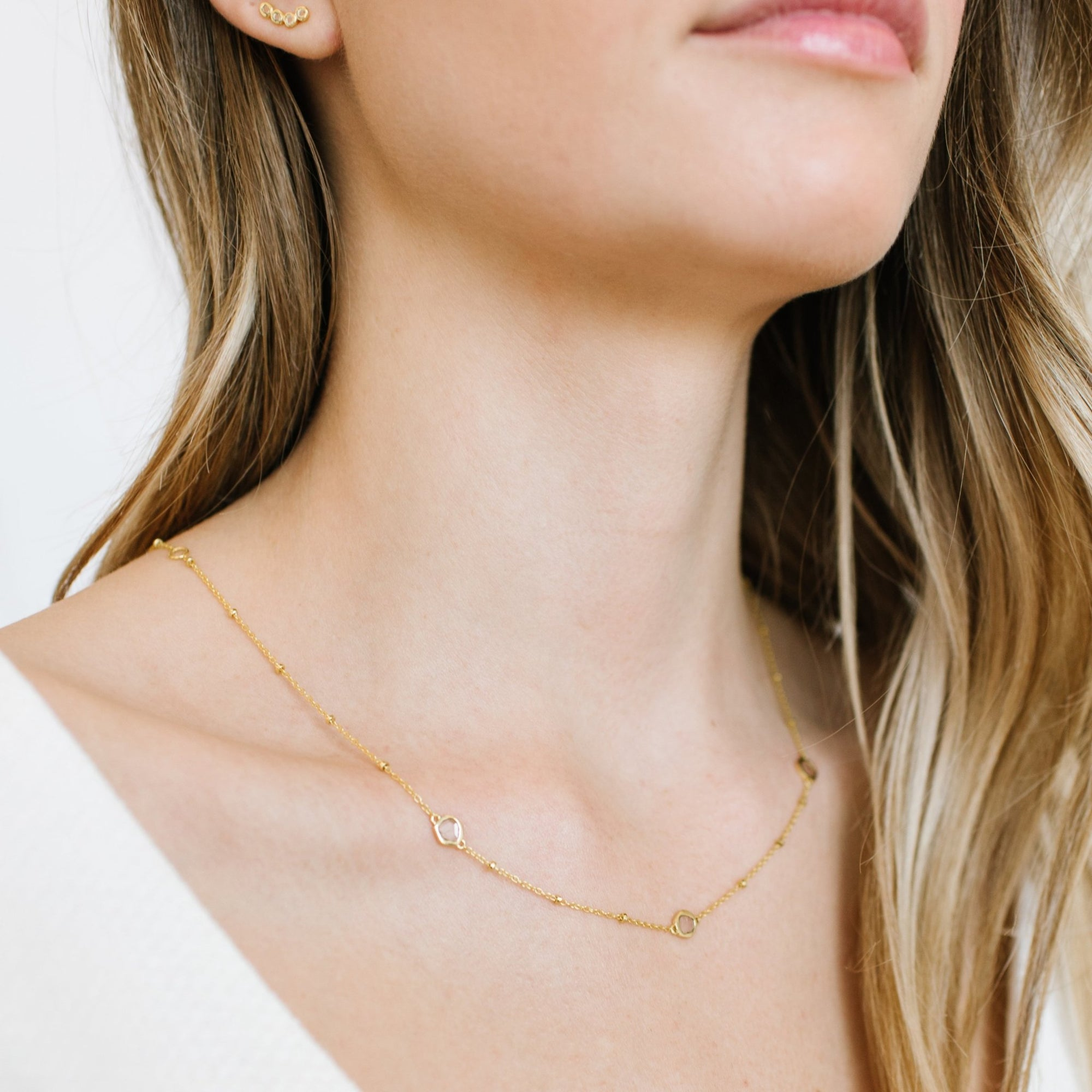 True Sliced Diamond Trio Necklace Gold - SO PRETTY CARA COTTER