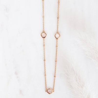 True Sliced Diamond Trio Necklace Rose Gold - SO PRETTY CARA COTTER