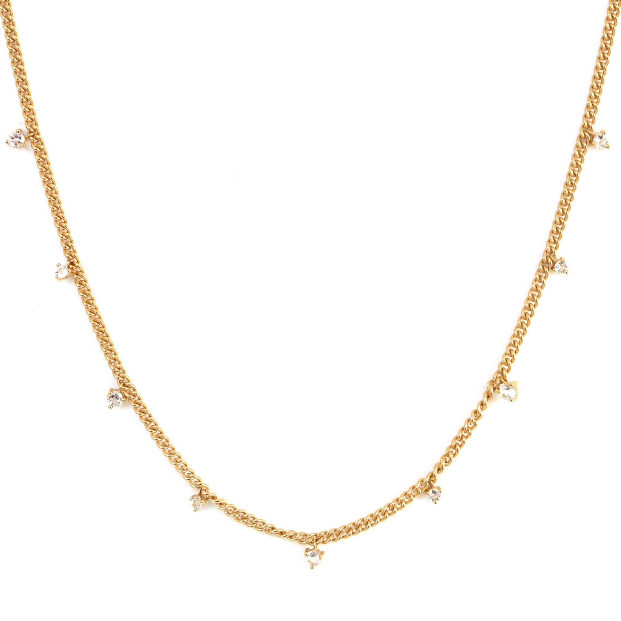 UNITY CROWN CURB LINK NECKLACE - WHITE TOPAZ & GOLD - SO PRETTY CARA COTTER