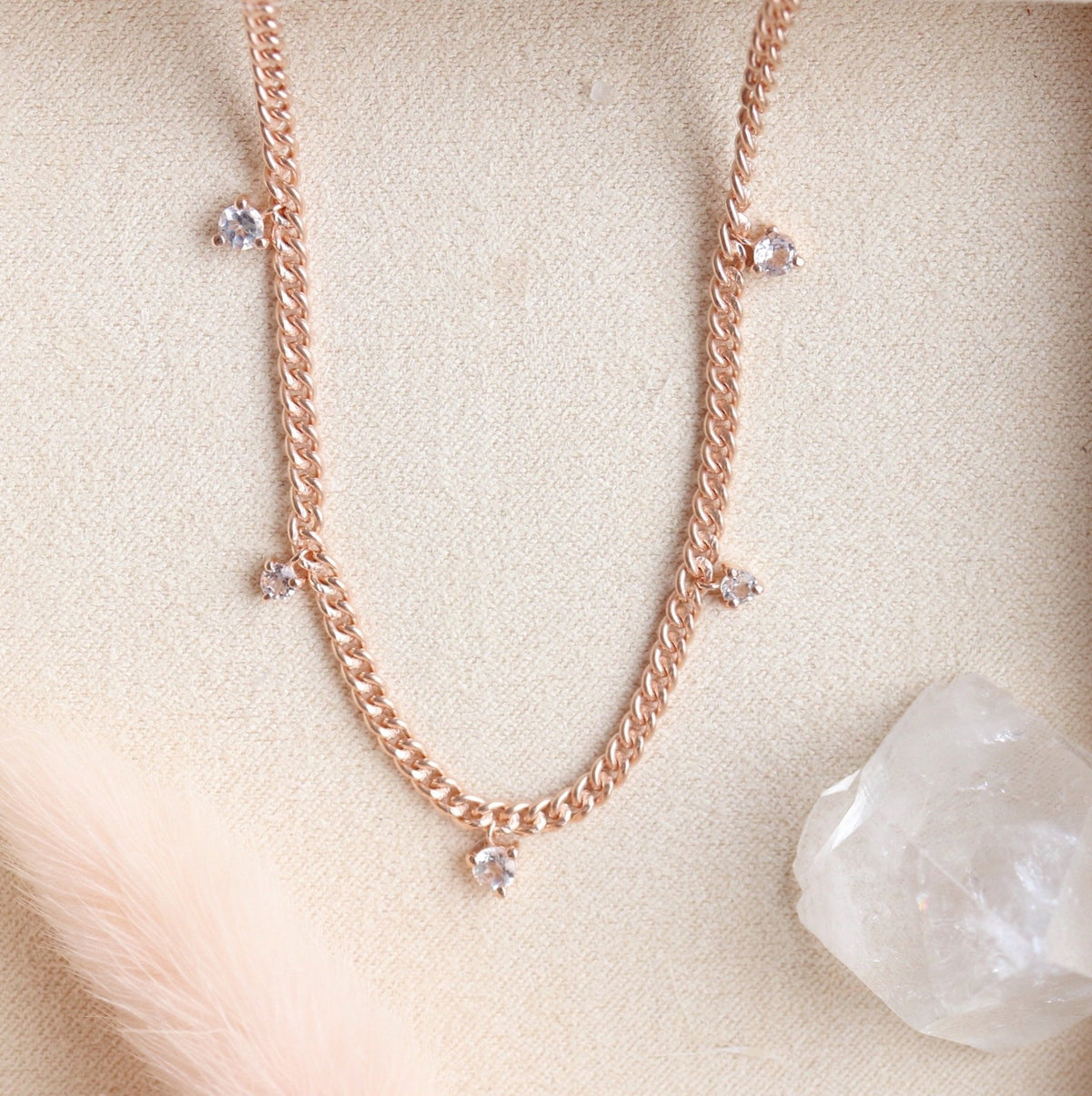 UNITY CROWN CURB LINK NECKLACE - WHITE TOPAZ & ROSE GOLD - SO PRETTY CARA COTTER