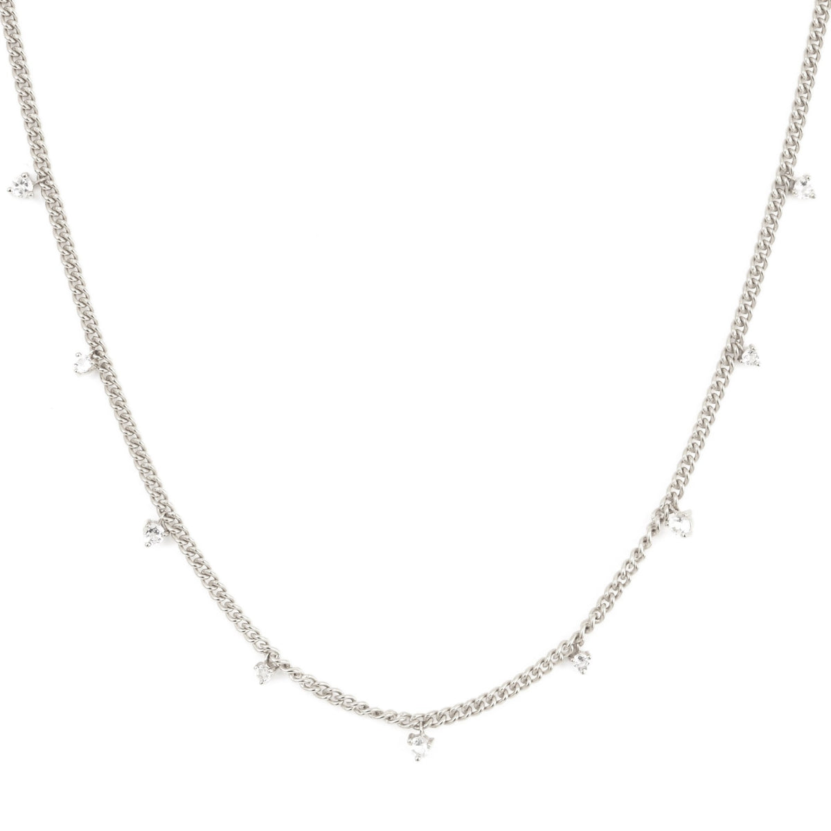 UNITY CROWN CURB LINK NECKLACE - WHITE TOPAZ & SILVER - SO PRETTY CARA COTTER