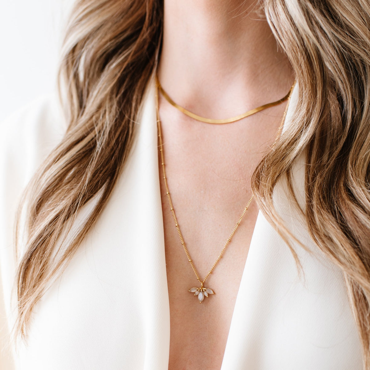 UNITY CROWN NECKLACE - CHAI MOONSTONE & GOLD - LIMITED EDITION - SO PRETTY CARA COTTER