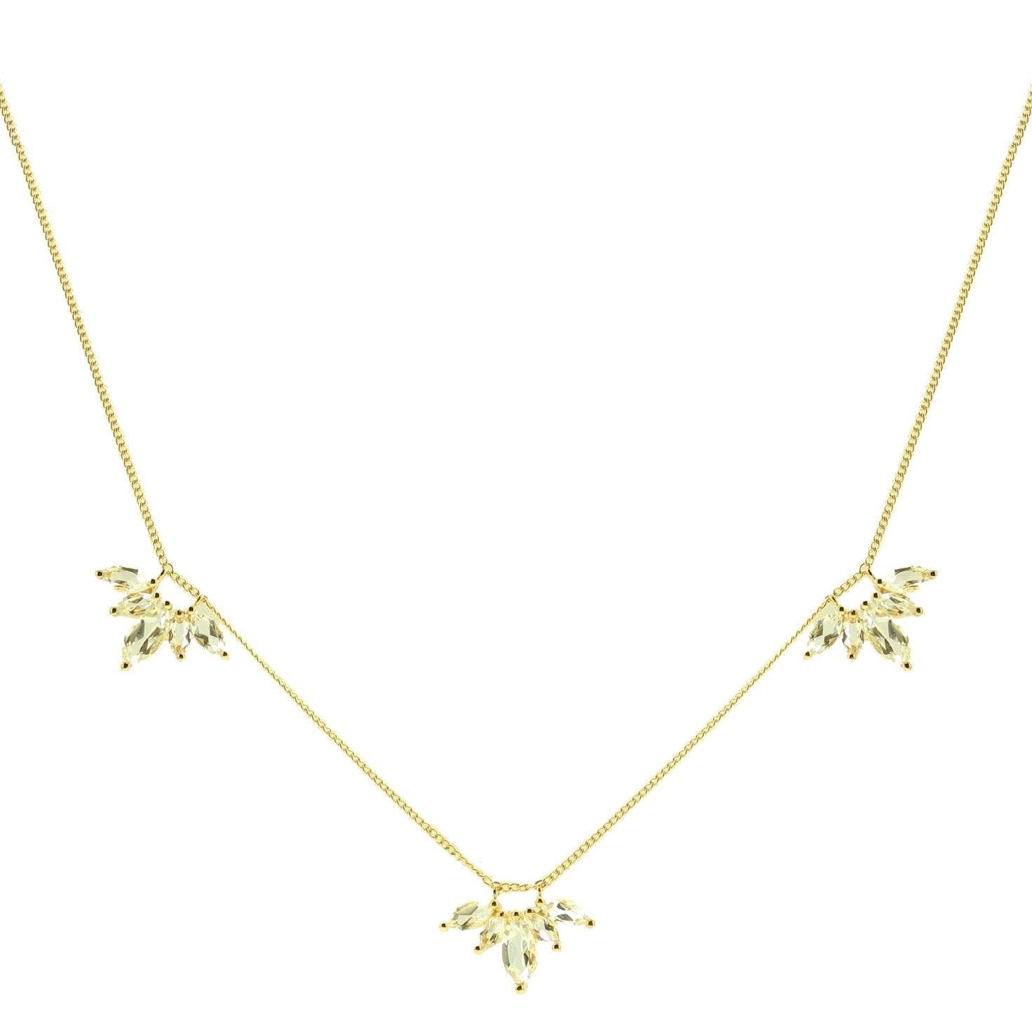 UNITY CROWN NECKLACE - WHITE TOPAZ & GOLD - SO PRETTY CARA COTTER