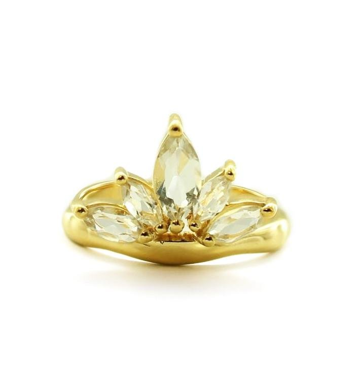 Unity Crown Ring - White Topaz & Gold - SO PRETTY CARA COTTER