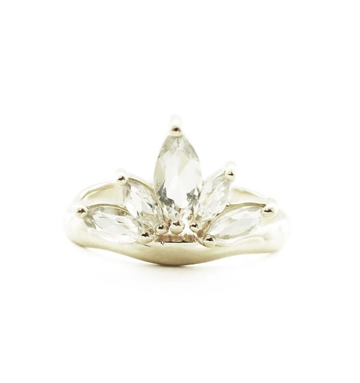 Unity Crown Ring - White Topaz & Silver - SO PRETTY CARA COTTER