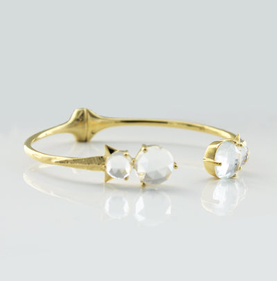 WONDER FALLING STAR CUFF - WHITE TOPAZ & GOLD - SO PRETTY CARA COTTER
