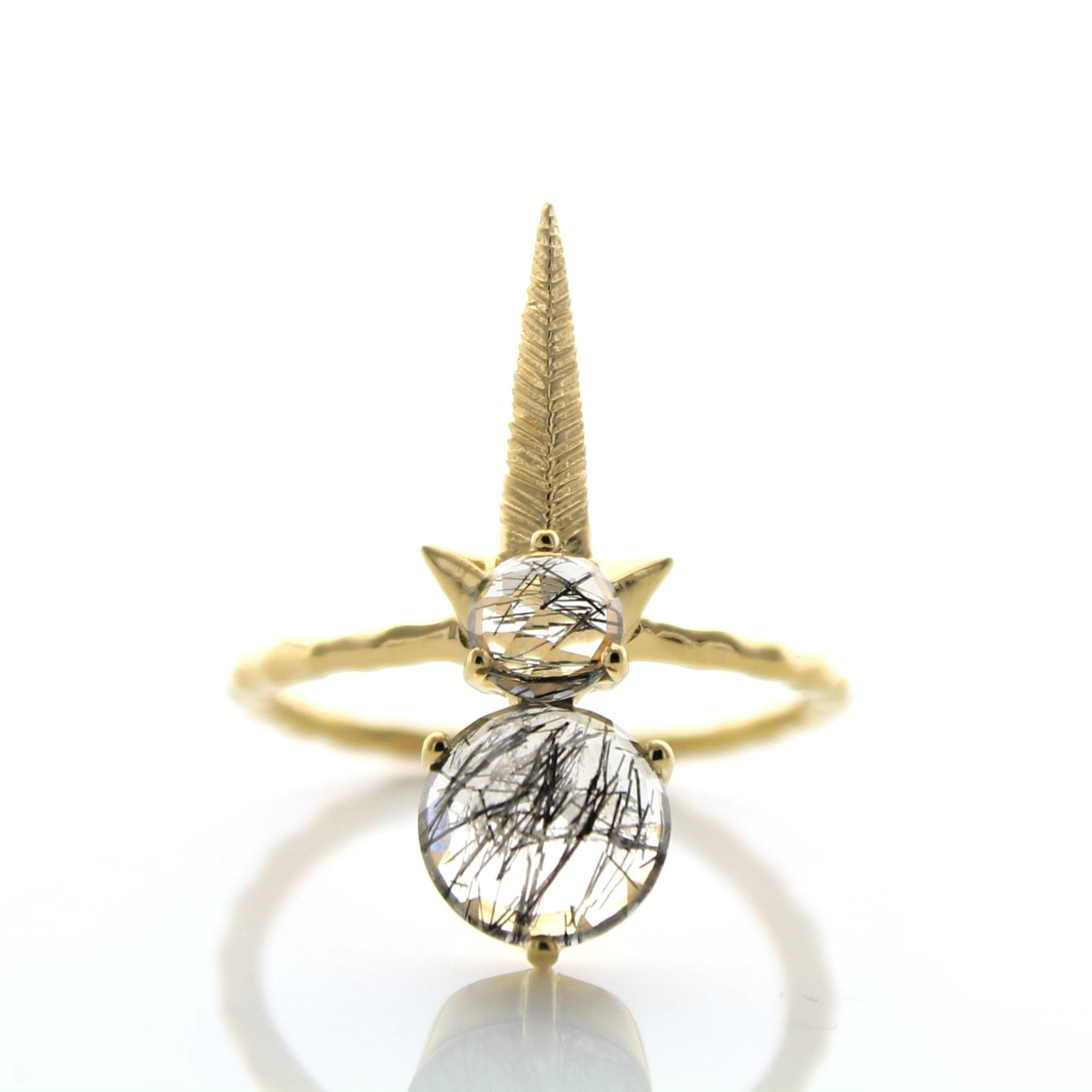 WONDER FALLING STAR RING - BLACK RUTILE QUARTZ & GOLD - SO PRETTY CARA COTTER