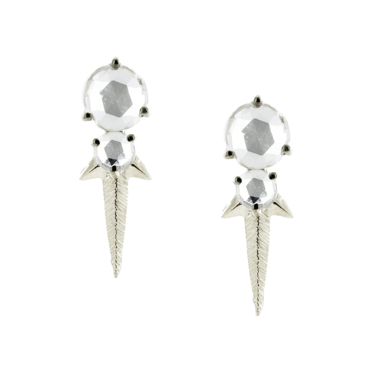 WONDER FALLING STAR STUDS - WHITE TOPAZ & SILVER - SO PRETTY CARA COTTER