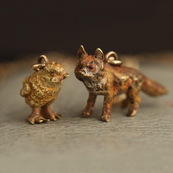 Vienna Bronze Chick and Fox Necklaces