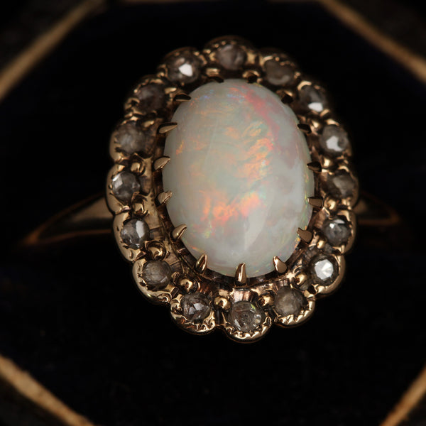 Opal and Rose Cut Diamond Cluster Ring