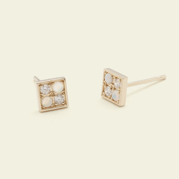 Checkerboard Earrings (Opal and Diamond)