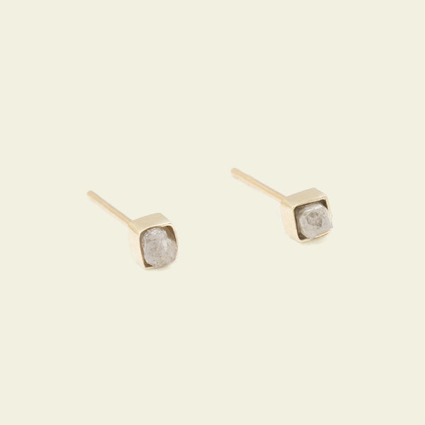 Rough Diamond Cube Earrings