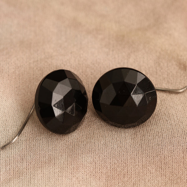 Faceted French Jet Button Earrings